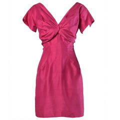 Sydney North Vintage 1960s Fuchsia Silk Cocktail Dress