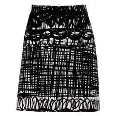 Moschino Vintage 1990s Scribble Print Velvet Mini Skirt