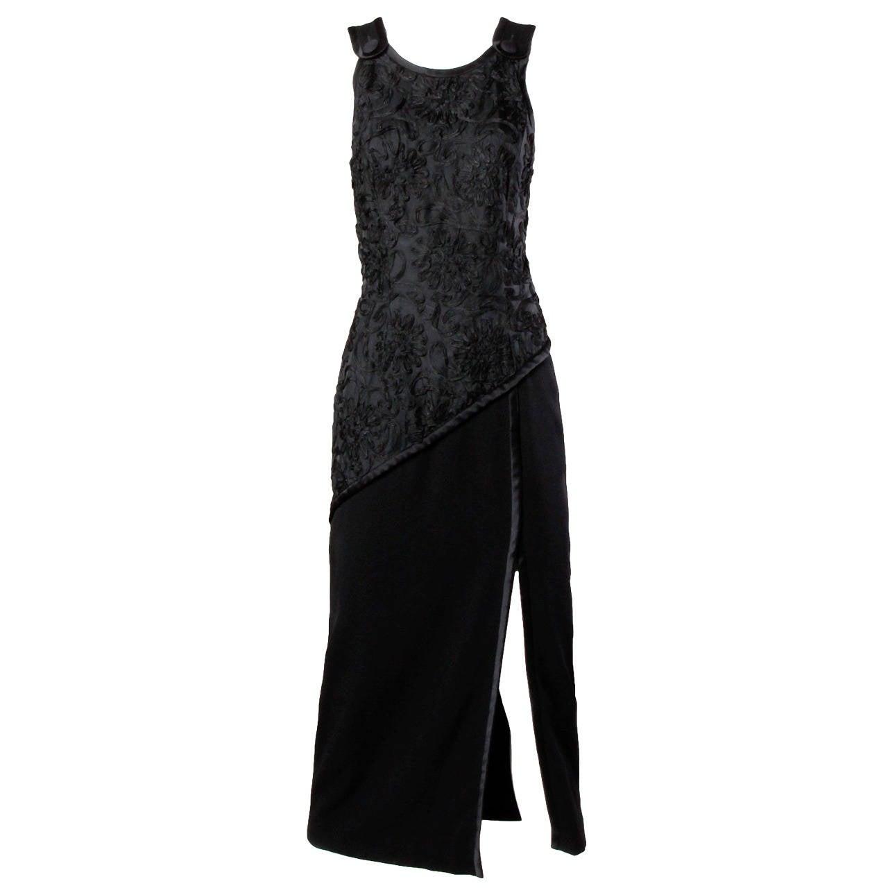 Bill Blass Vintage Black Soutache Evening Dress
