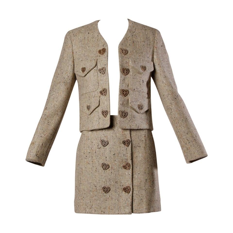Moschino Vintage 1990s Brown Tweed Skirt + Jacket Suit Ensemble