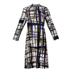 Adele Simpson Vintage 1970s Modernist Print Shift Dress