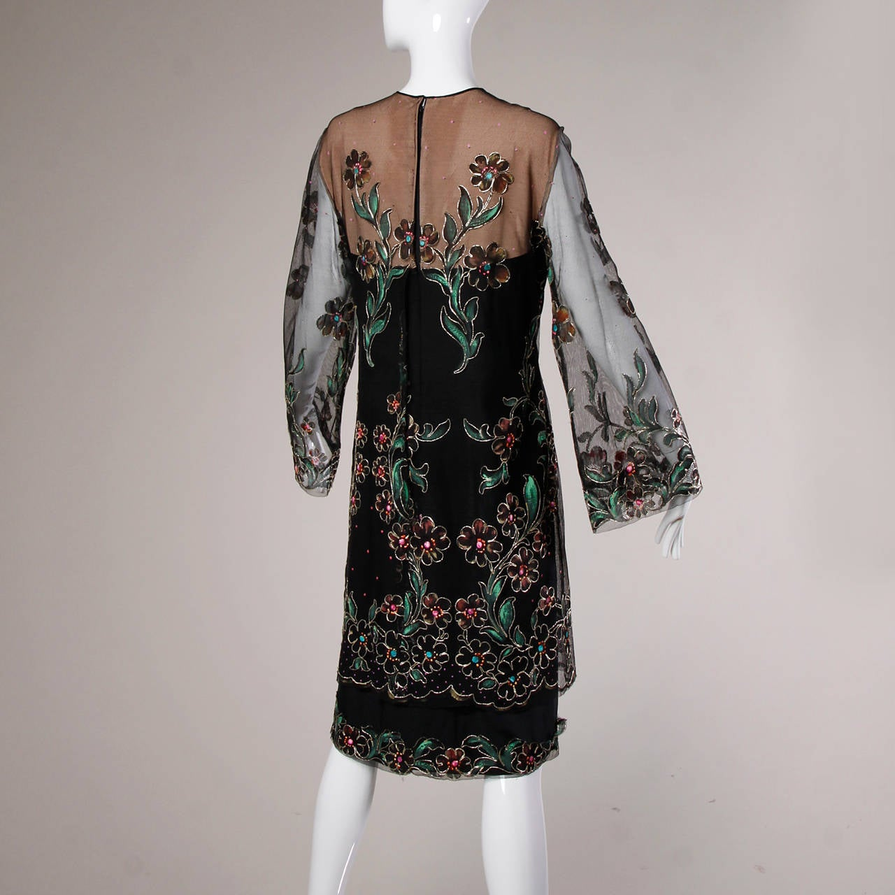Travilla Vintage Metallic Hand Painted Flowers Nude Illusion Dress 8
