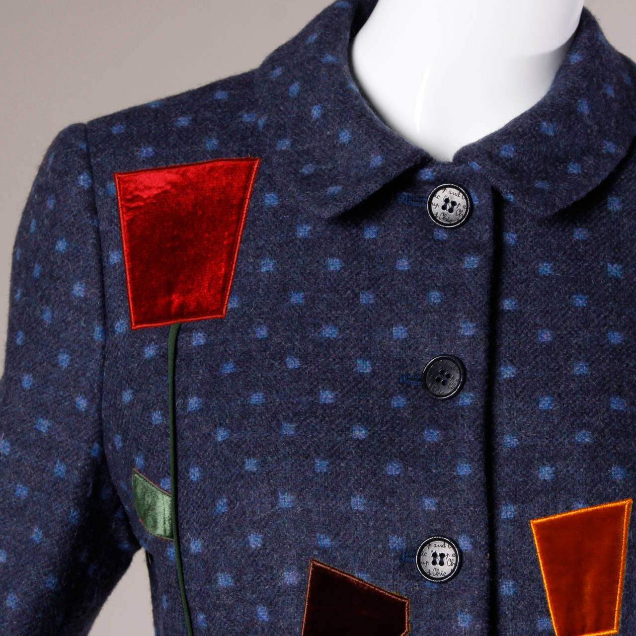 Moschino Vintage 90s Polka Dot Patchwork Skirt + Jacket Suit Ensemble For Sale 1