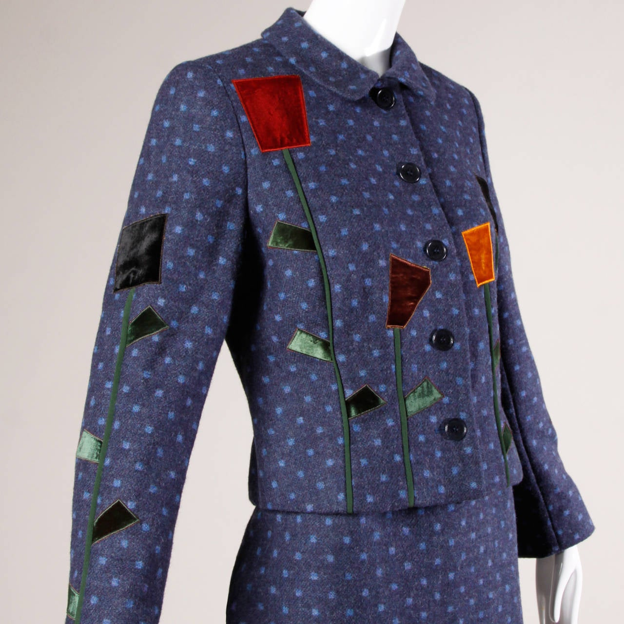 Black Moschino Vintage 90s Polka Dot Patchwork Skirt + Jacket Suit Ensemble For Sale