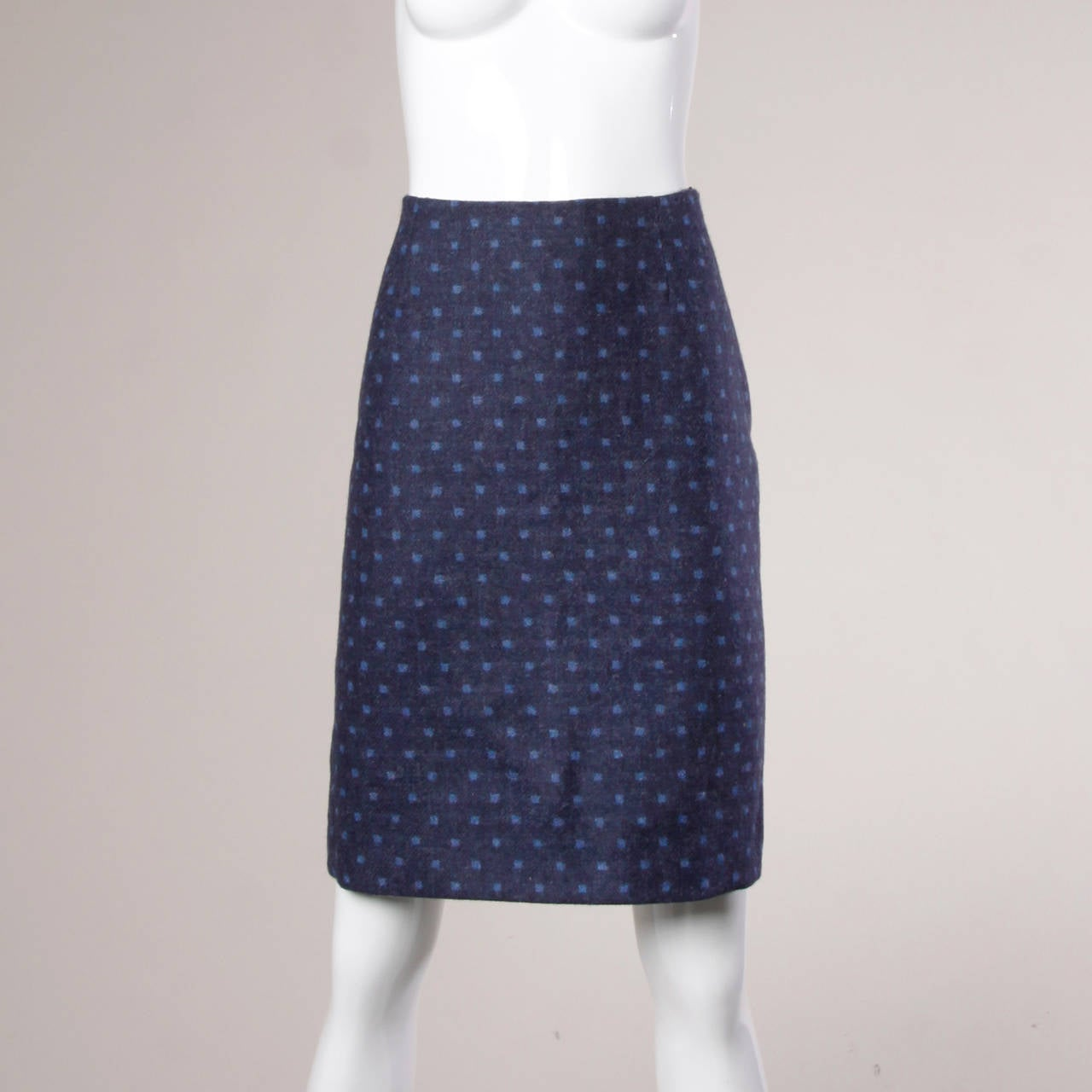 Moschino Vintage 90s Polka Dot Patchwork Skirt + Jacket Suit Ensemble For Sale 2