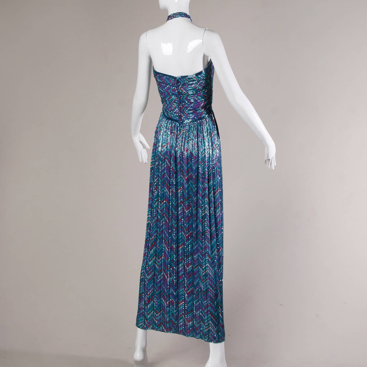 Extraordinary Bob Mackie Vintage Beaded Silk Gown with Detatchable Strap For Sale 2