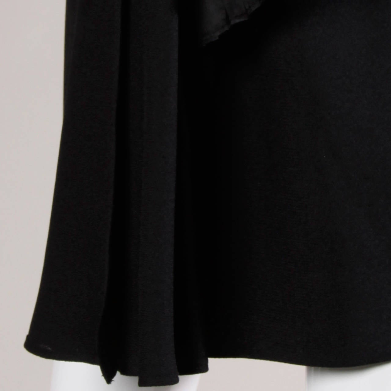 Victor Costa Vintage Black Origami Pleated Avant Garde Strapless Dress For Sale 3