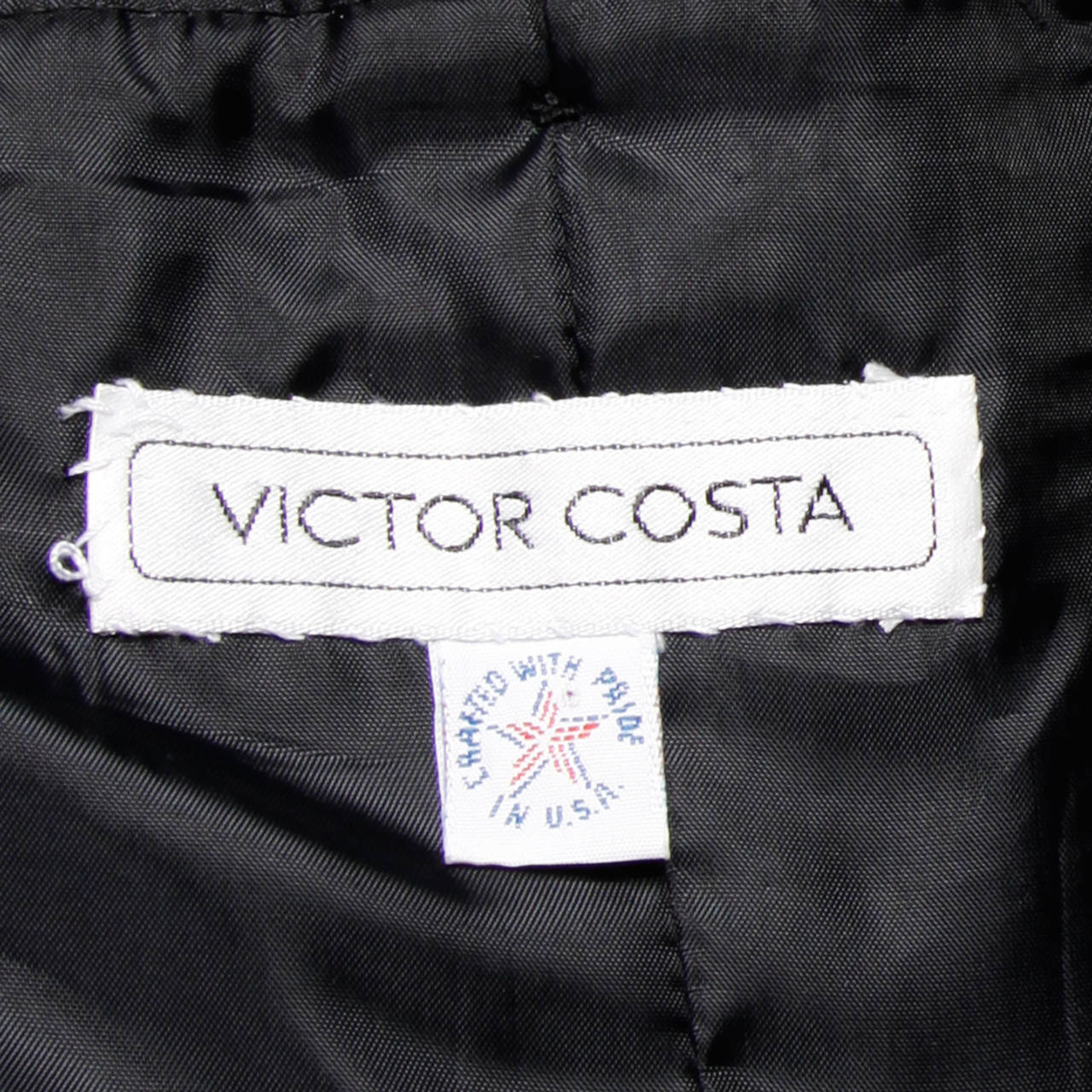 Victor Costa Vintage Black Origami Pleated Avant Garde Strapless Dress For Sale 5