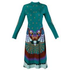 Signed Domitilla Vintage 1960s Italian Silk Jersey Mirror Print Dress