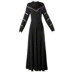 Mignon Vintage 1970s Black Slinky Cut Out Maxi Dress