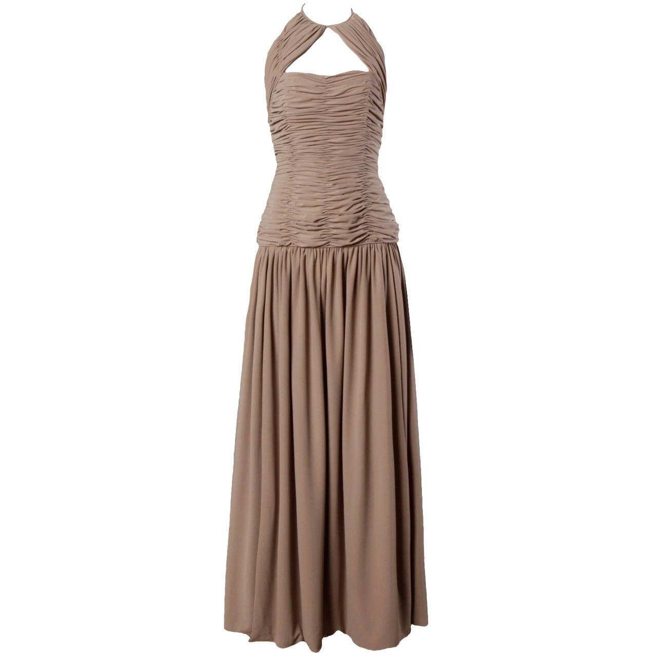 Victor Costa Deadstock Vintage Nude Halter Dress with Original Tags For Sale