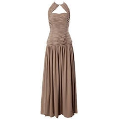 Victor Costa Deadstock Vintage Nude Halter Dress with Original Tags