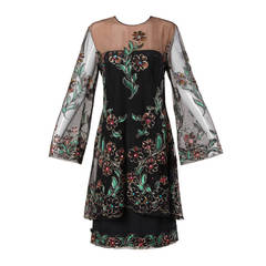 Travilla Vintage Metallic Hand Painted Flowers Nude Illusion Dress