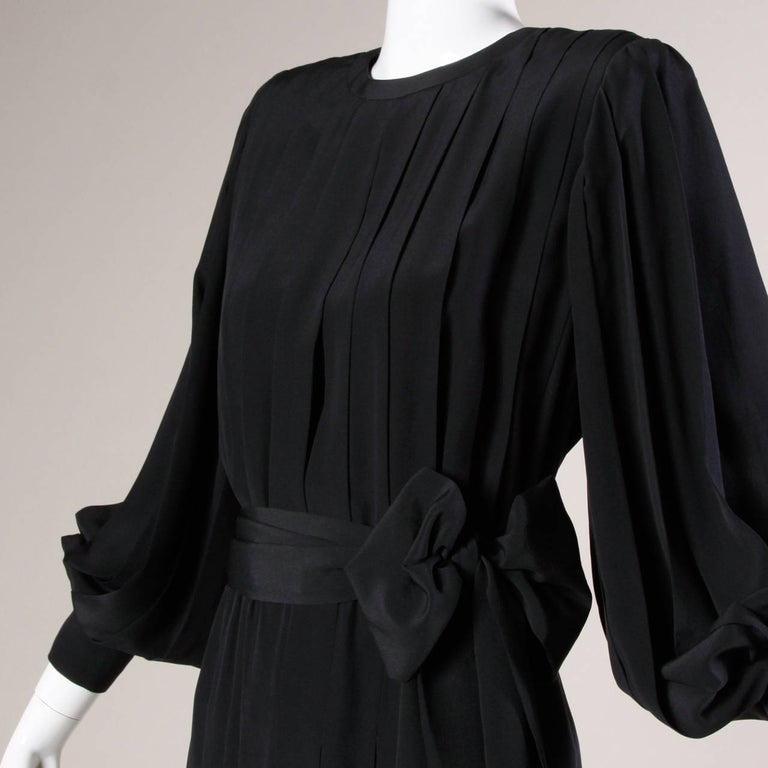 1980s Andre Laug Vintage Black Silk Dress with Matching Sash Belt For Sale 3