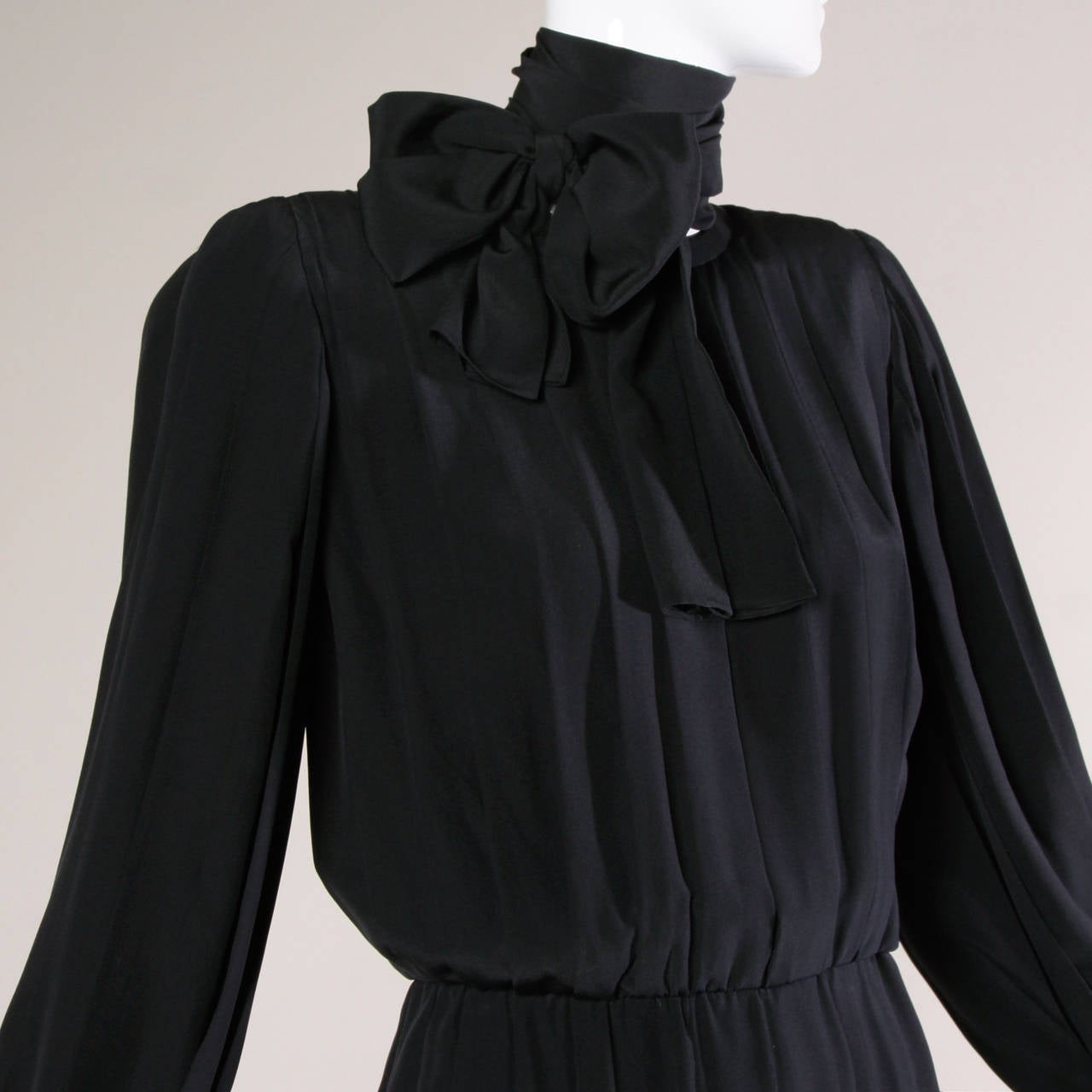1980s Andre Laug Vintage Black Silk Dress with Matching Sash Belt For Sale 2