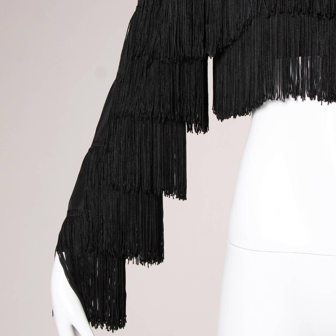 Norma Kamali Omo Vintage 1980s Black Fringe Jacket 3