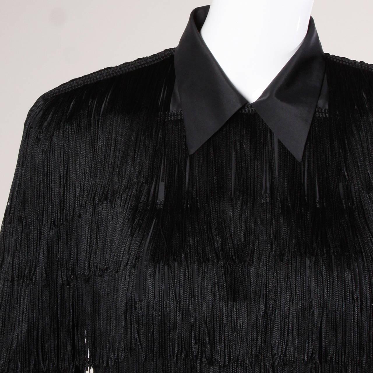 Norma Kamali Omo Vintage 1980s Black Fringe Jacket 4