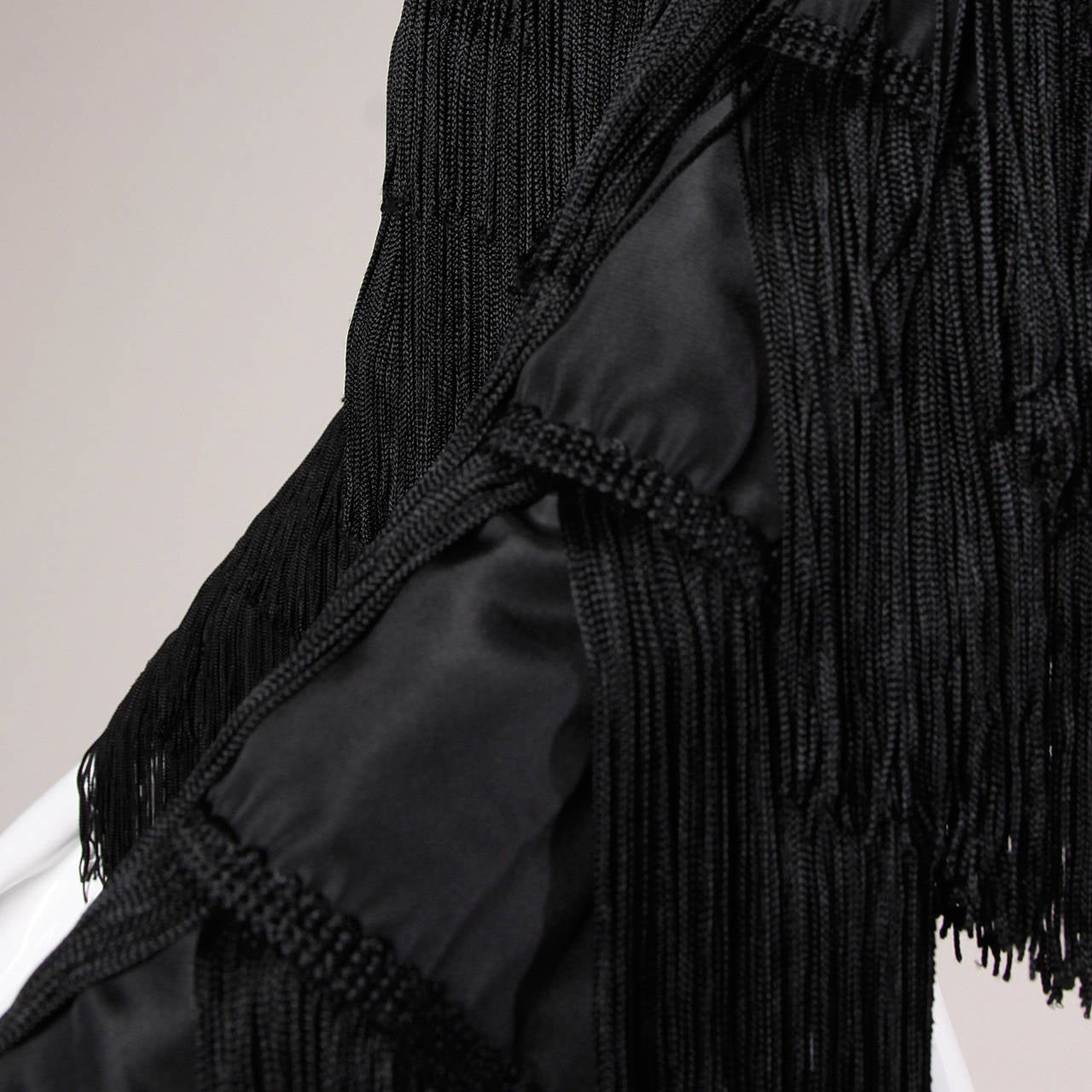 Norma Kamali Omo Vintage 1980s Black Fringe Jacket 5