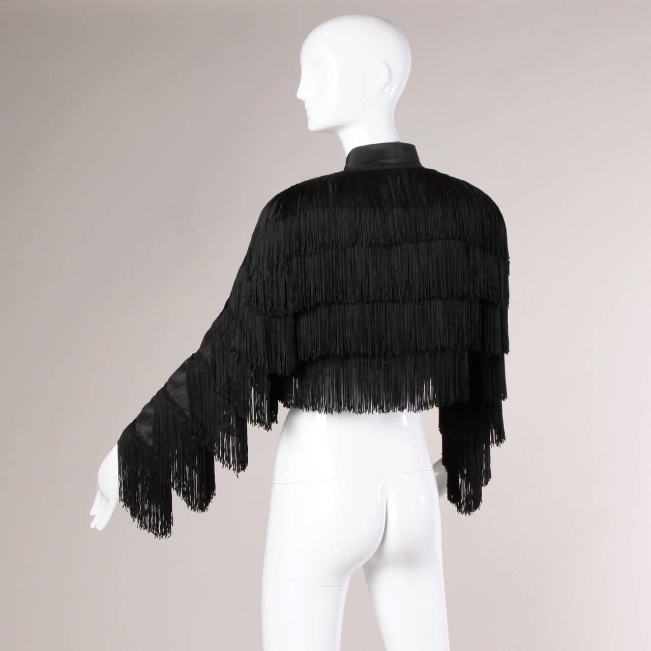 Norma Kamali Omo Vintage 1980s Black Fringe Jacket 6