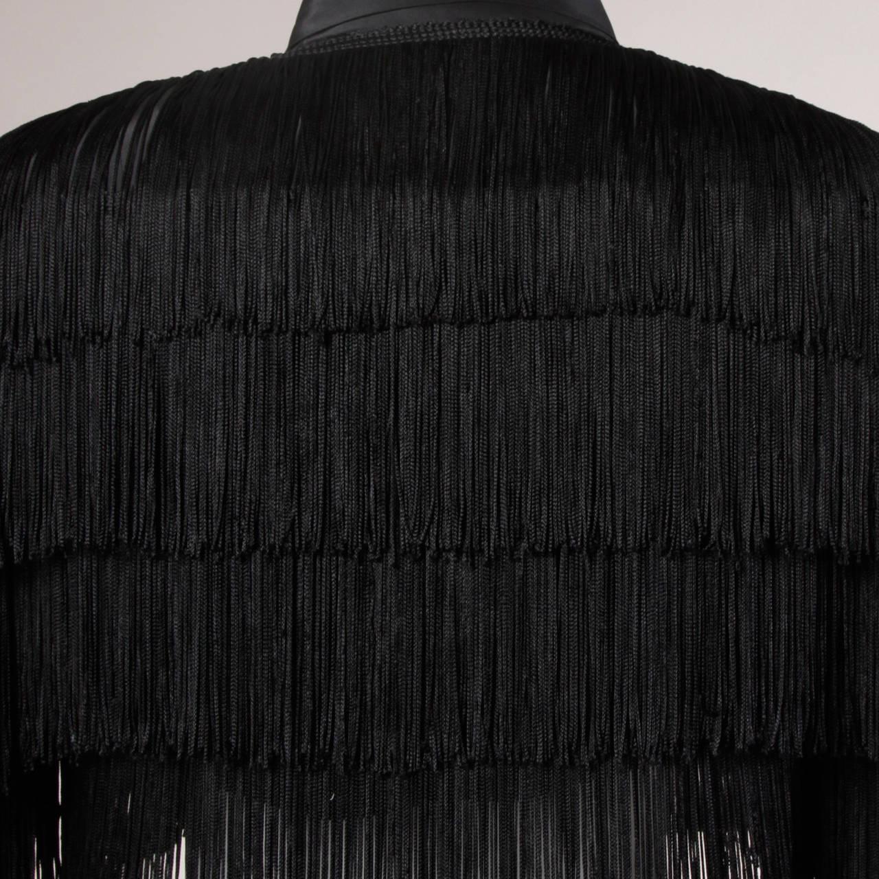 Norma Kamali Omo Vintage 1980s Black Fringe Jacket 7