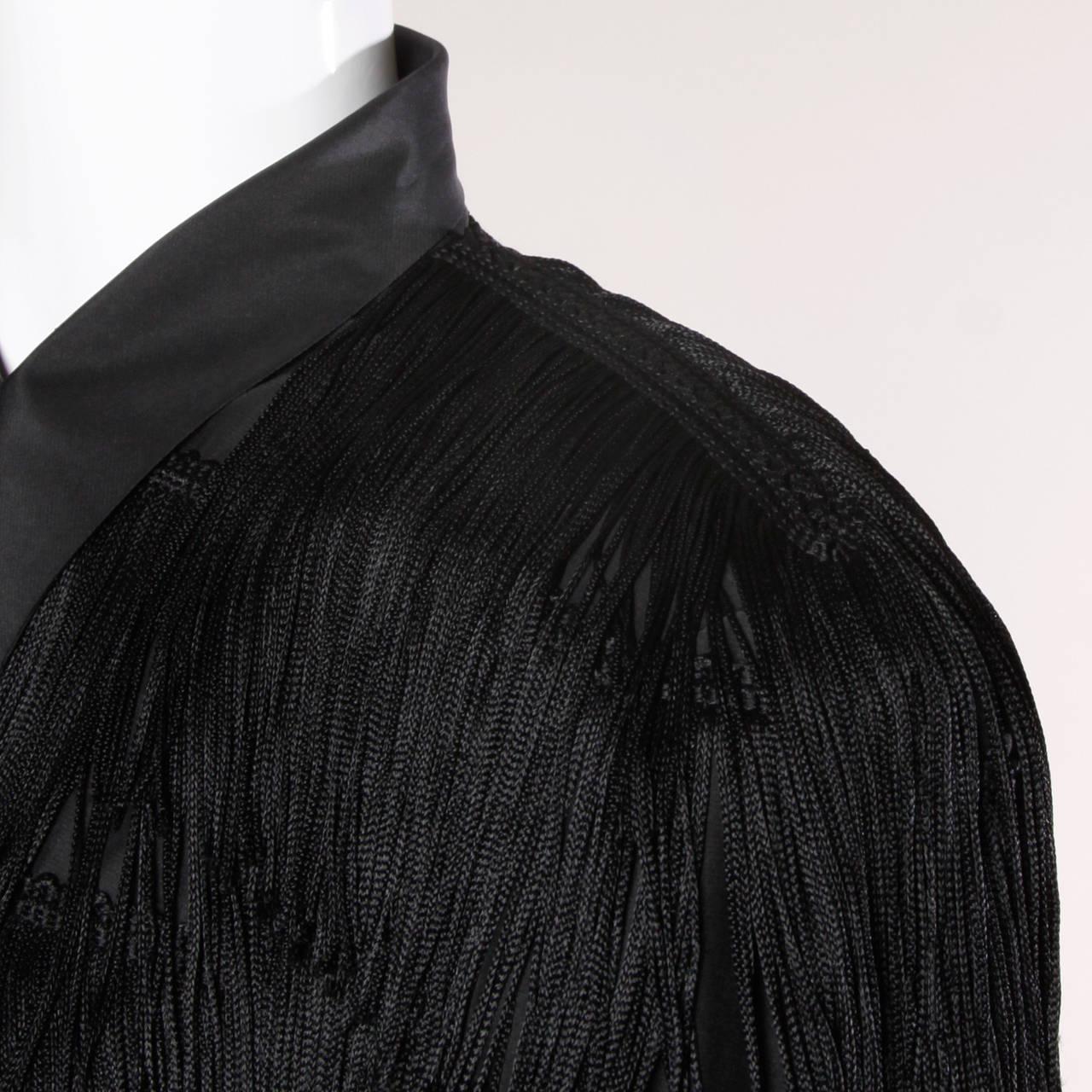 Norma Kamali Omo Vintage 1980s Black Fringe Jacket 8