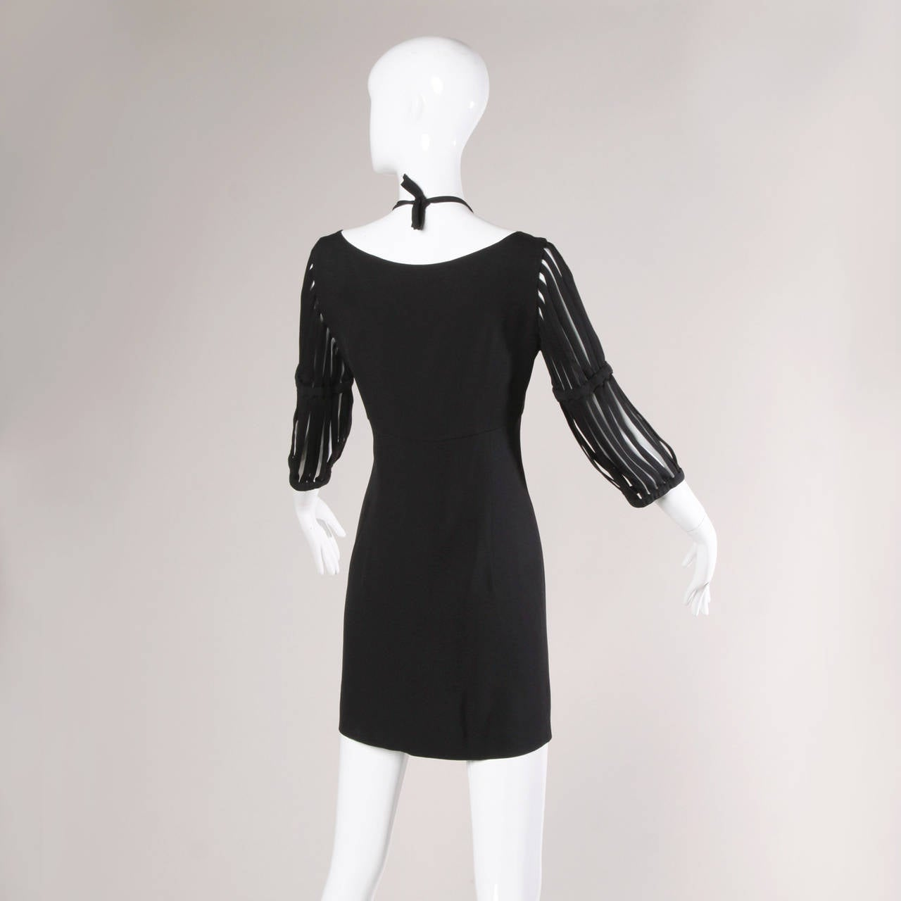 Moschino Vintage 1990s Cut Out Cage Sleeves Black Dress In Excellent Condition In Sparks, NV