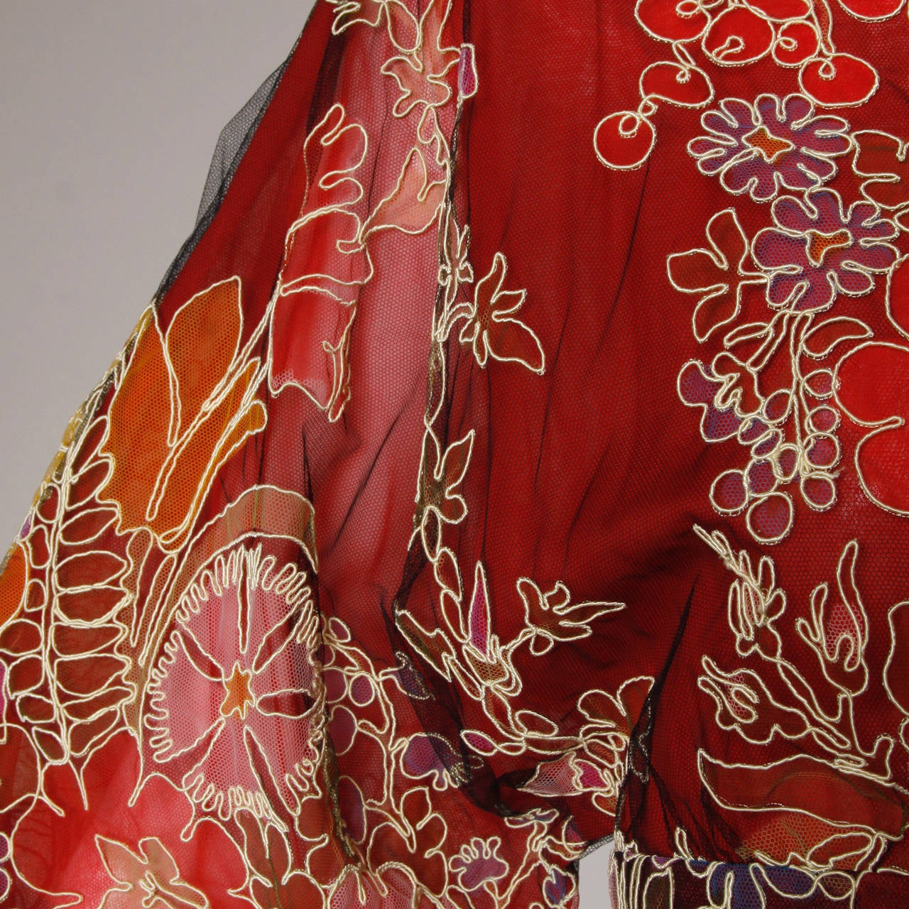 Donald Brooks Unworn Vintage 1970s Hand Painted Tulle Embroidered Dress For Sale 4