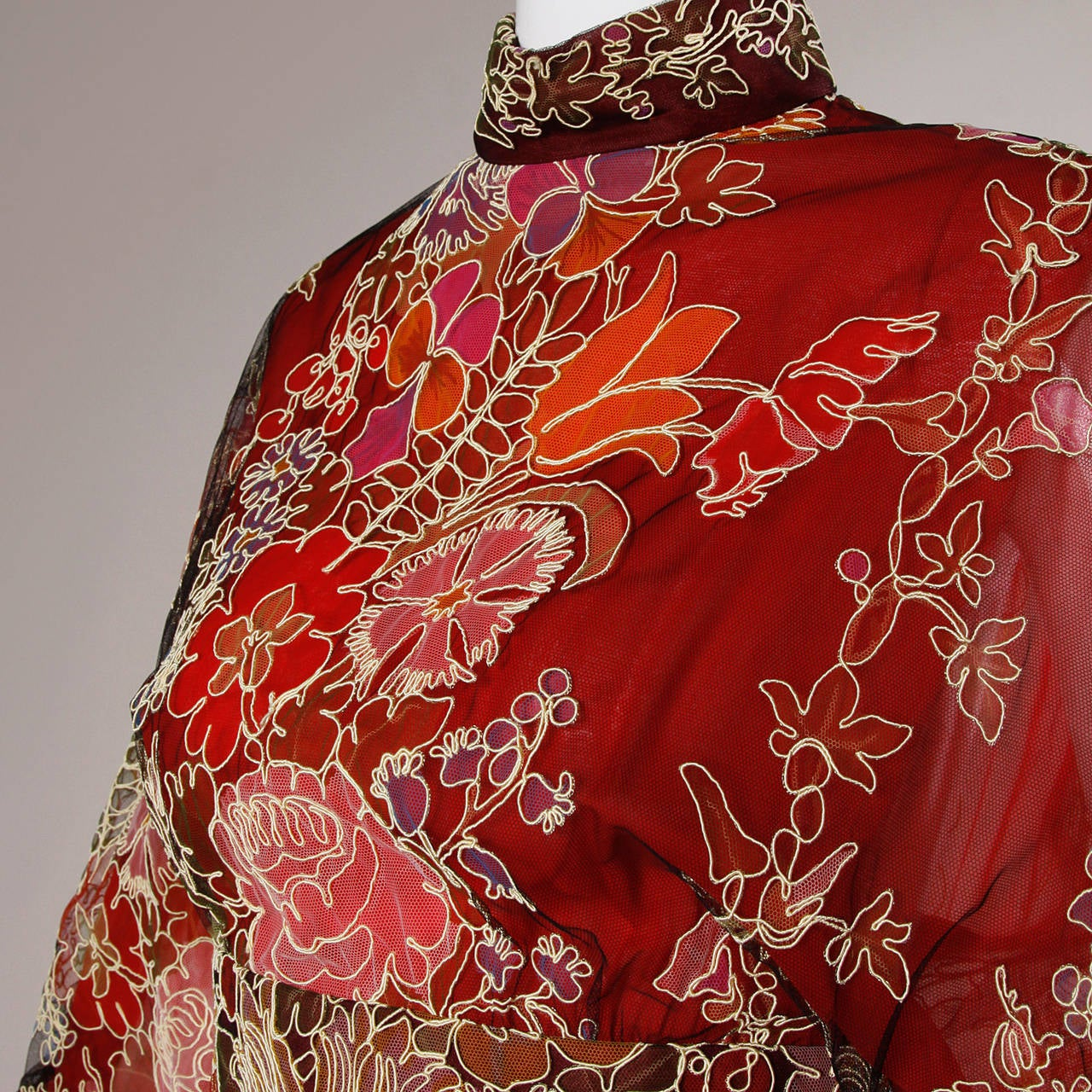 Women's Donald Brooks Unworn Vintage 1970s Hand Painted Tulle Embroidered Dress For Sale