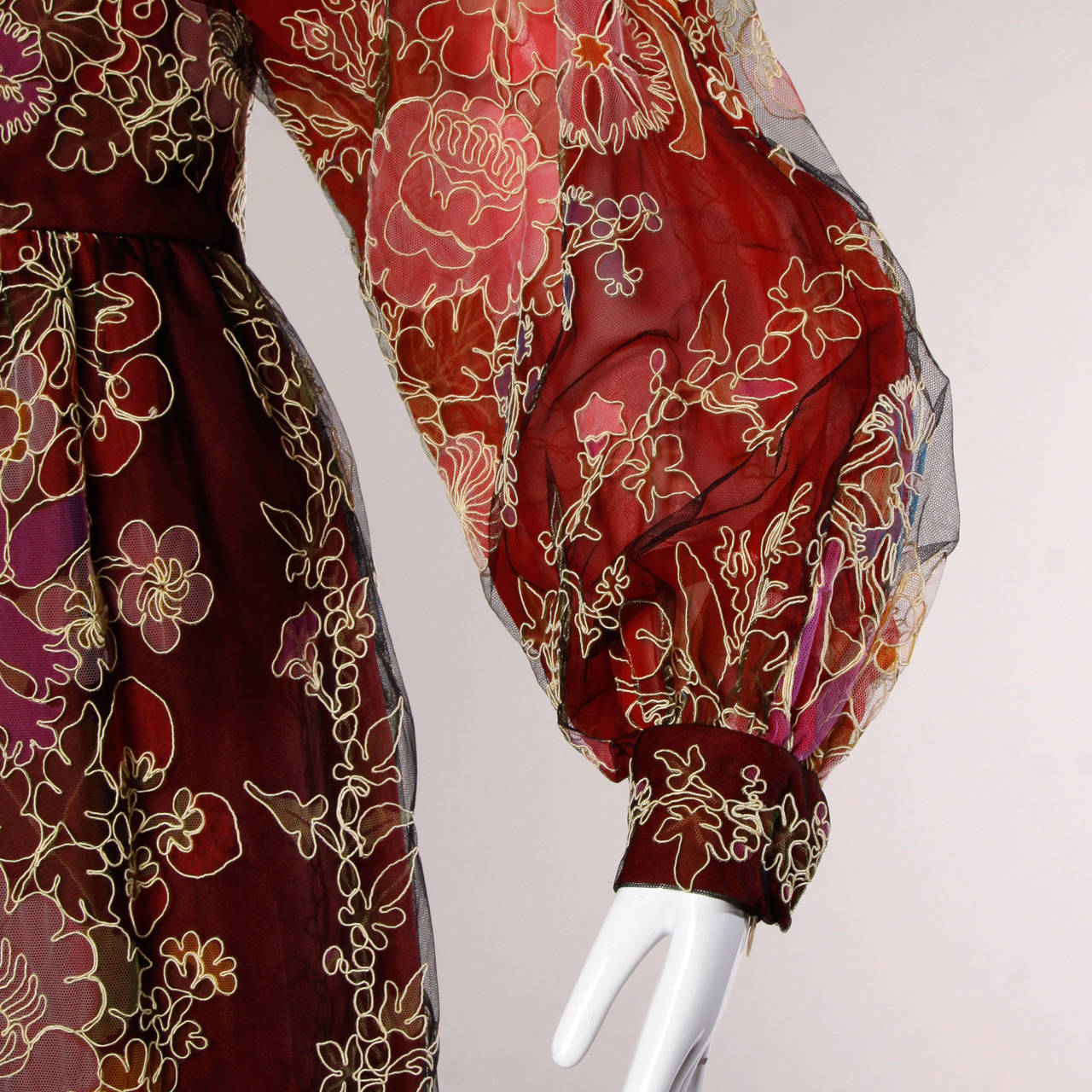 Donald Brooks Unworn Vintage 1970s Hand Painted Tulle Embroidered Dress For Sale 3