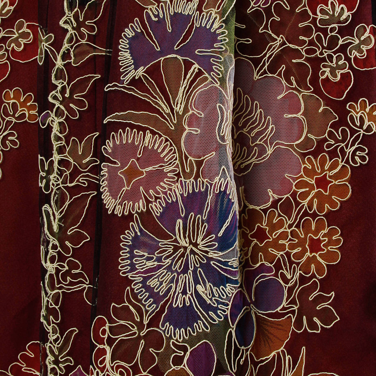 Donald Brooks Unworn Vintage 1970s Hand Painted Tulle Embroidered Dress For Sale 1
