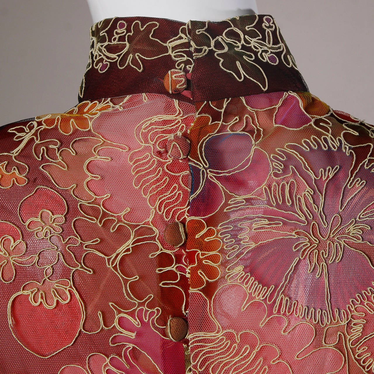Donald Brooks Unworn Vintage 1970s Hand Painted Tulle Embroidered Dress For Sale 2