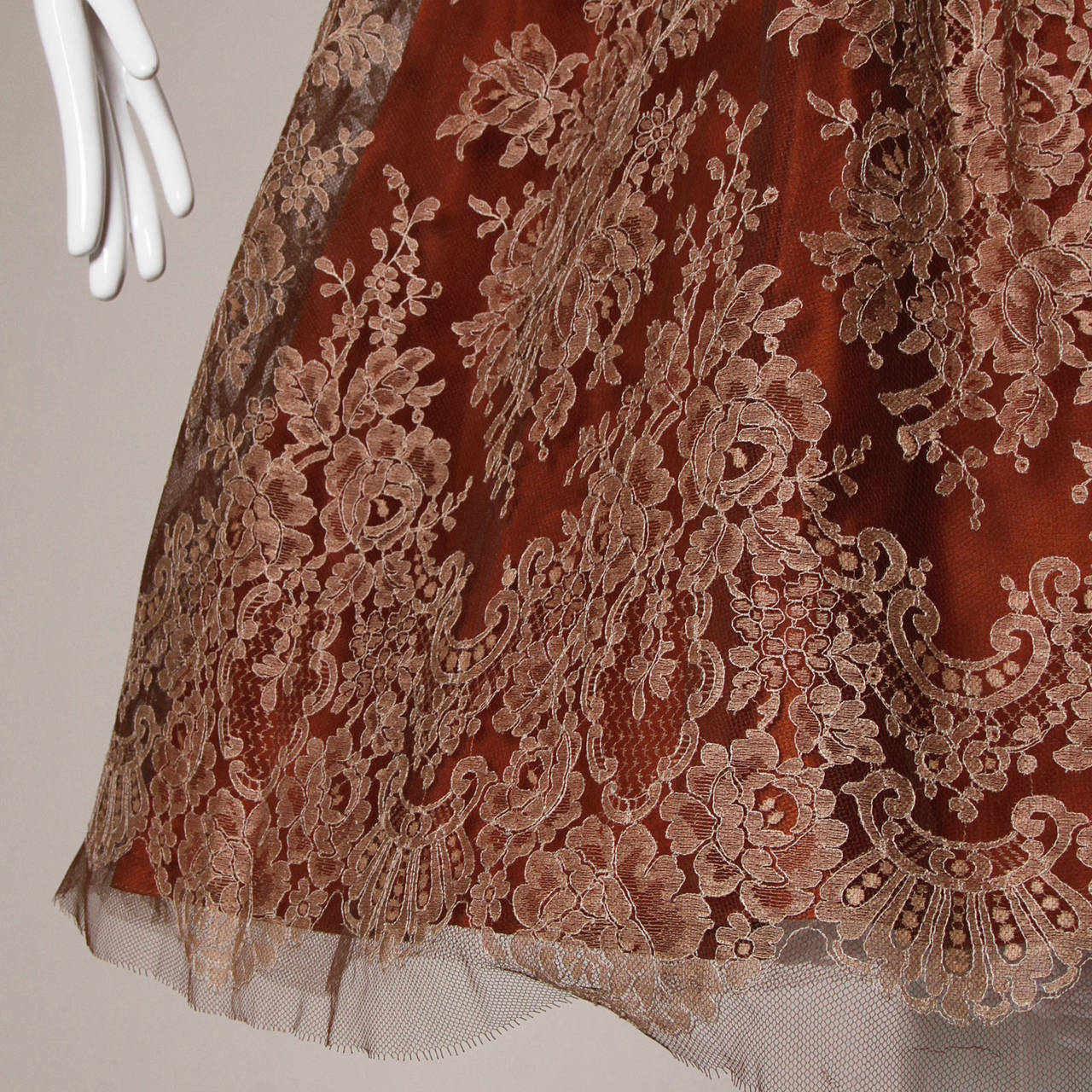 Dreamy 1950s Brown Tulle Chantilly Lace Cocktail Dress 9