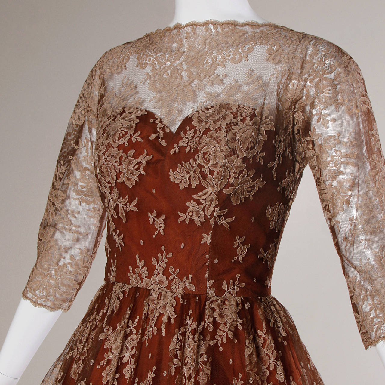 Dreamy 1950s Brown Tulle Chantilly Lace Cocktail Dress 2