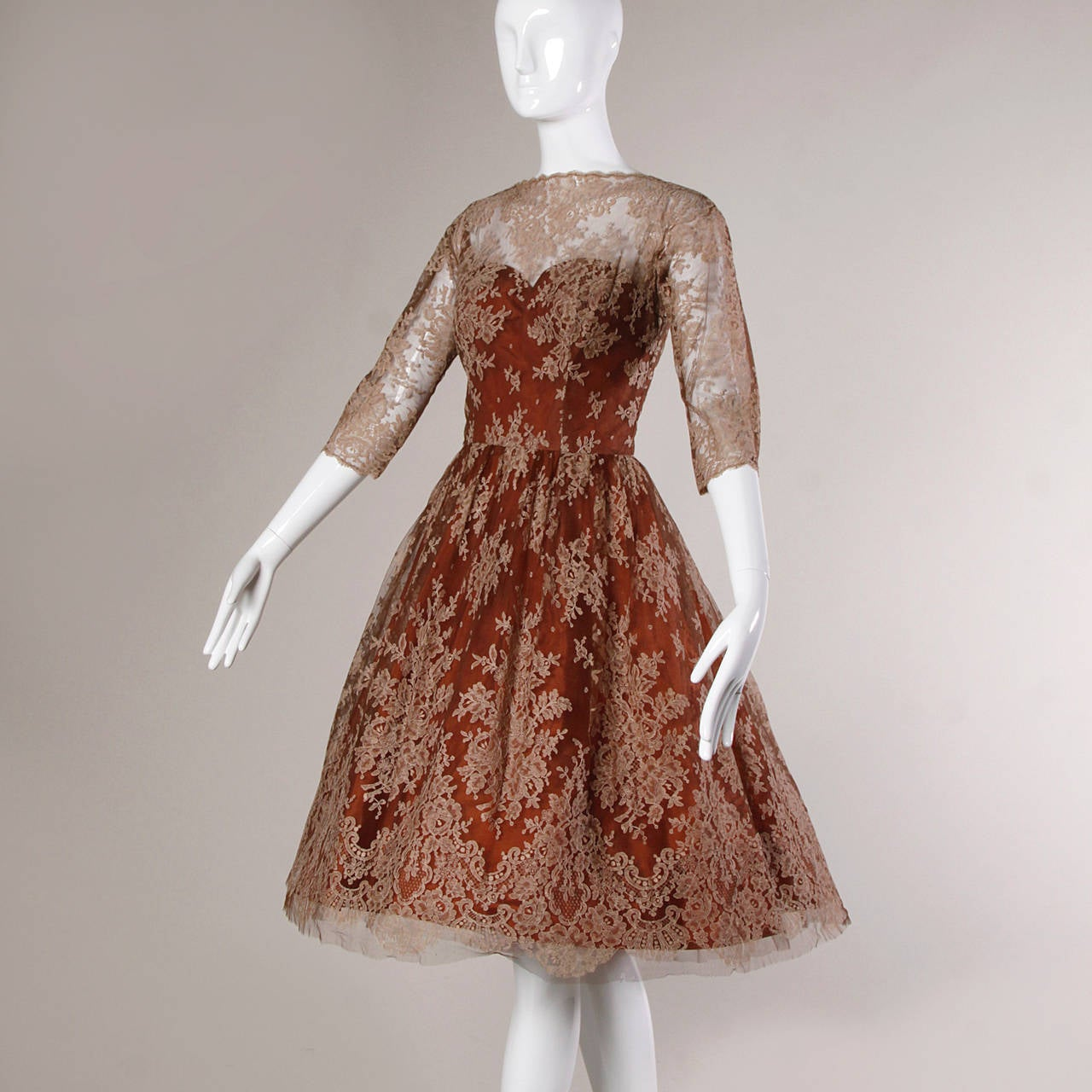 Dreamy 1950s Brown Tulle Chantilly Lace Cocktail Dress 6
