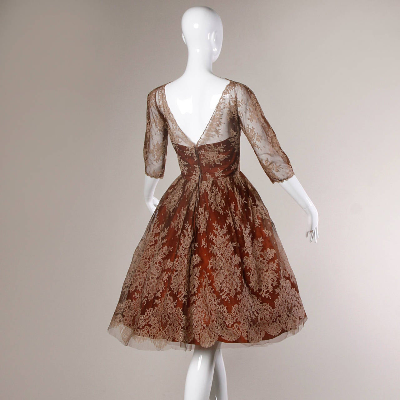 Dreamy 1950s Brown Tulle Chantilly Lace Cocktail Dress 8