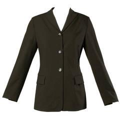 Jil Sander Vintage 1990s Dark Green Wool Blazer Jacket
