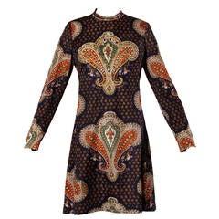 Gino Charles Vintage 1970s Beaded Paisley Print Mini Dress