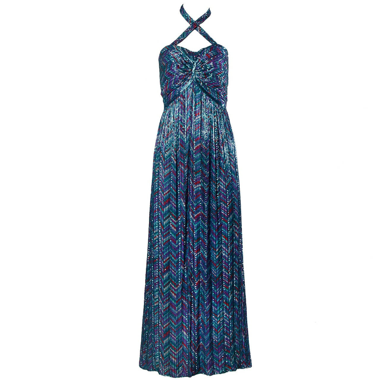 Extraordinary Bob Mackie Vintage Beaded Silk Gown with Detatchable Strap For Sale