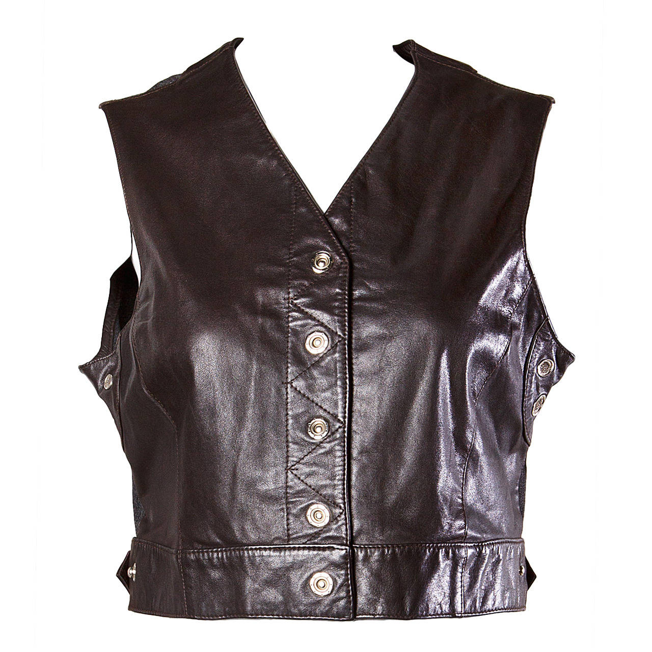 Emanuel Ungaro Vintage 1990s Cropped Leather Vest Top For Sale