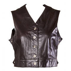 Emanuel Ungaro Vintage 1990s Cropped Leather Vest Top