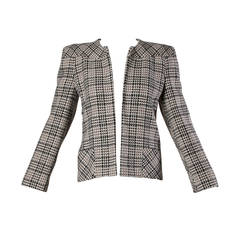 Carolina Herrera Vintage Wool Blazer Jacket with Bold Shoulders