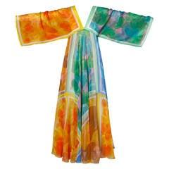 La Vetta Vintage 1970s Full Sweep Chiffon Rainbow Print Maxi Dress