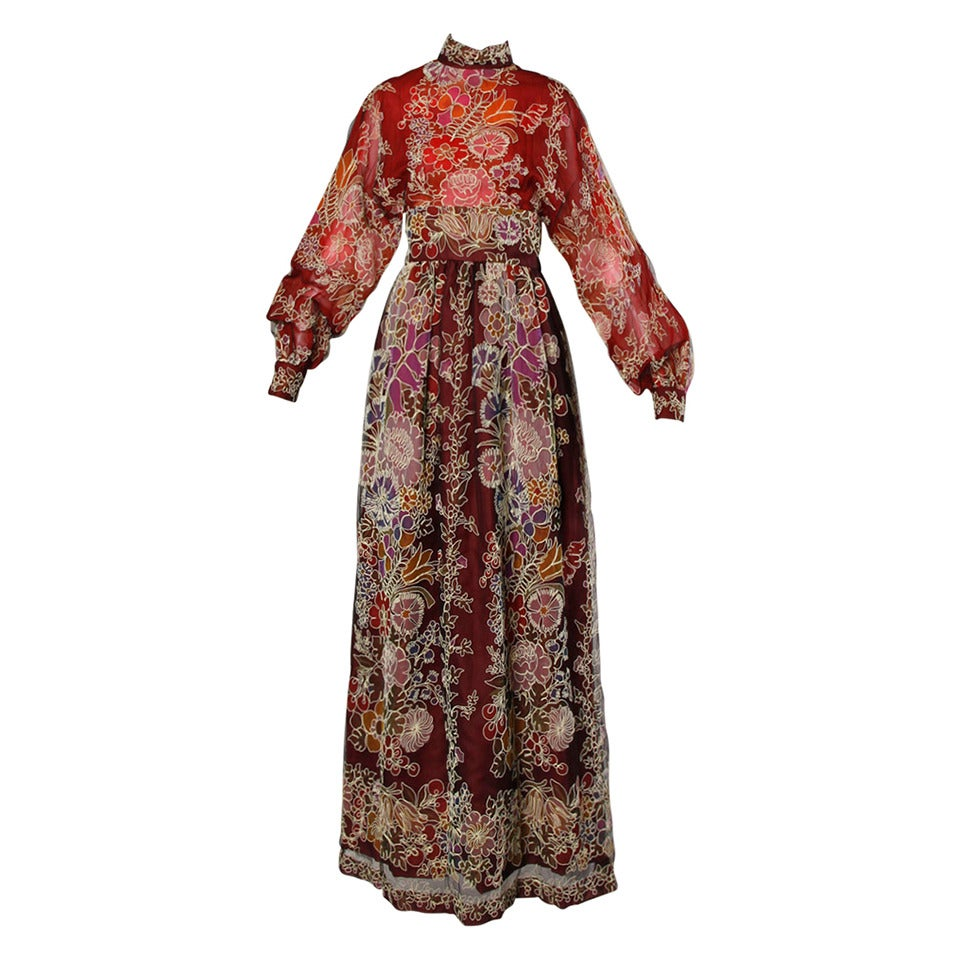 Donald Brooks Unworn Vintage 1970s Hand Painted Tulle Embroidered Dress For Sale