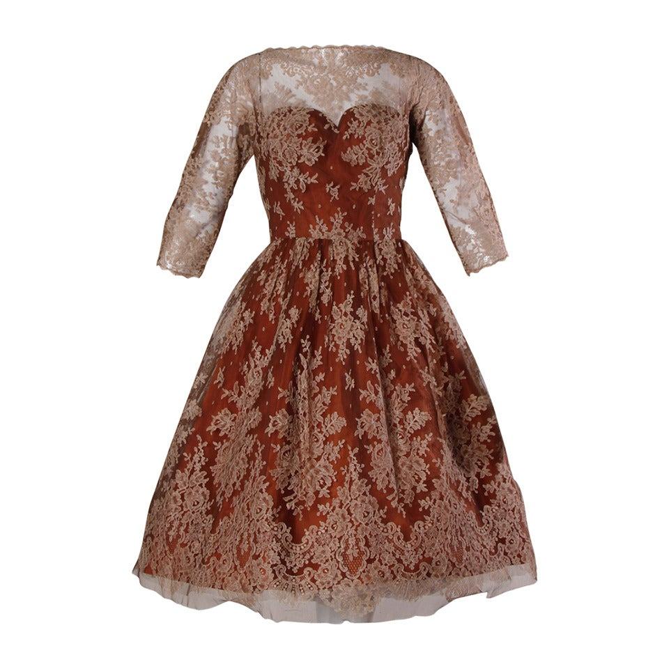 Dreamy 1950s Brown Tulle Chantilly Lace Cocktail Dress 1