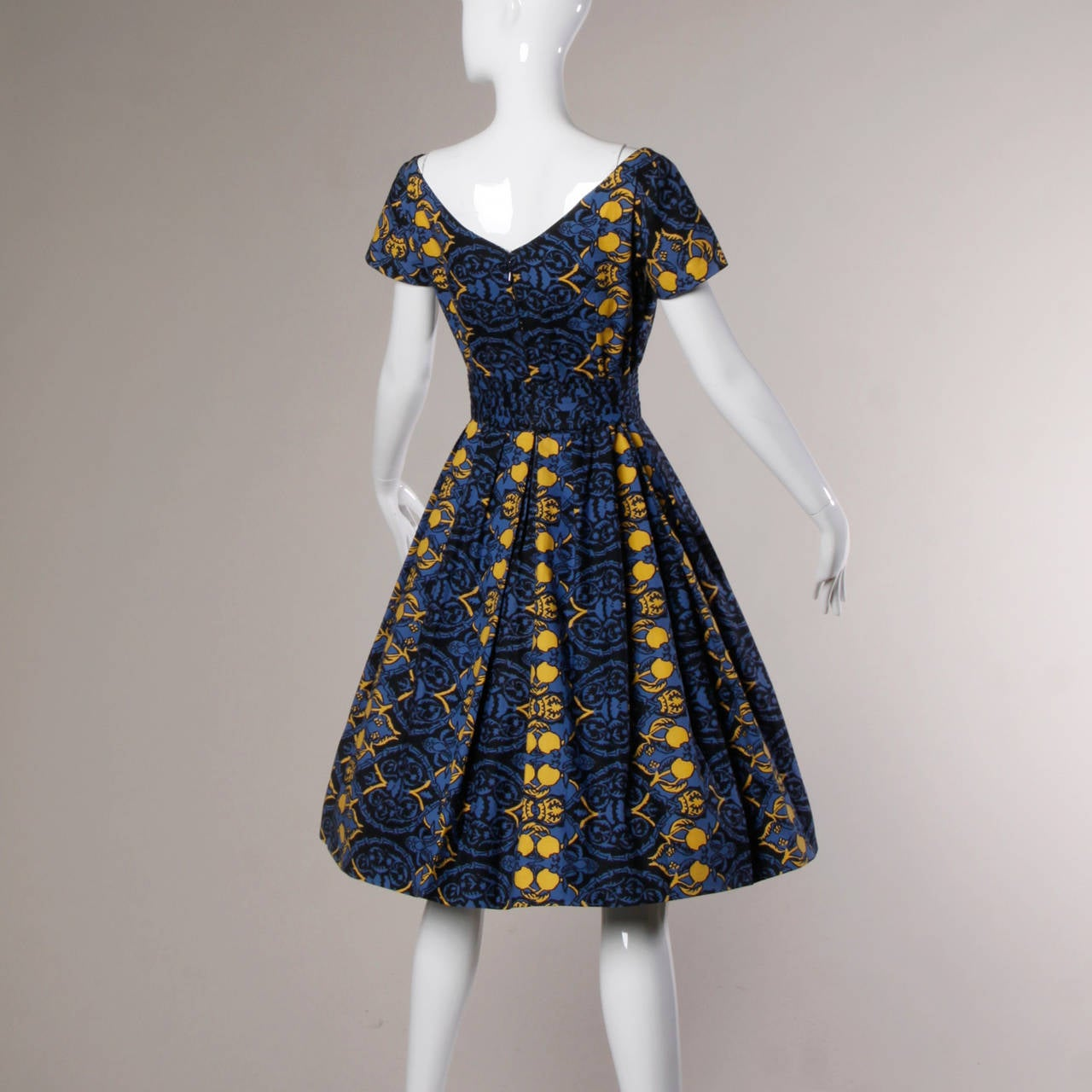 Black 1950s Vintage French Custom Provincial Printed Cotton Dress For Sale