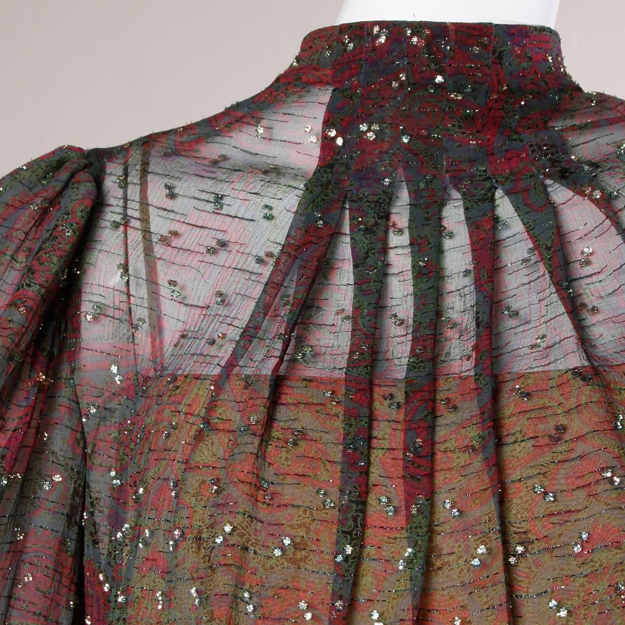 Black Pauline Trigere Vintage 1970s Metallic Silk 3-Piece Dress + Sash For Sale