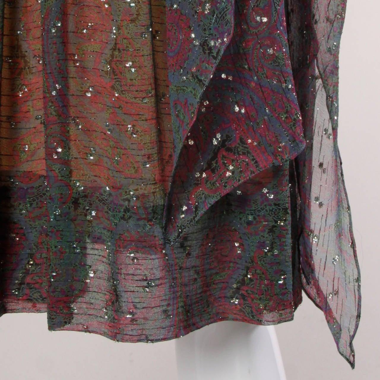 Pauline Trigere Vintage 1970s Metallic Silk 3-Piece Dress + Sash For Sale 1