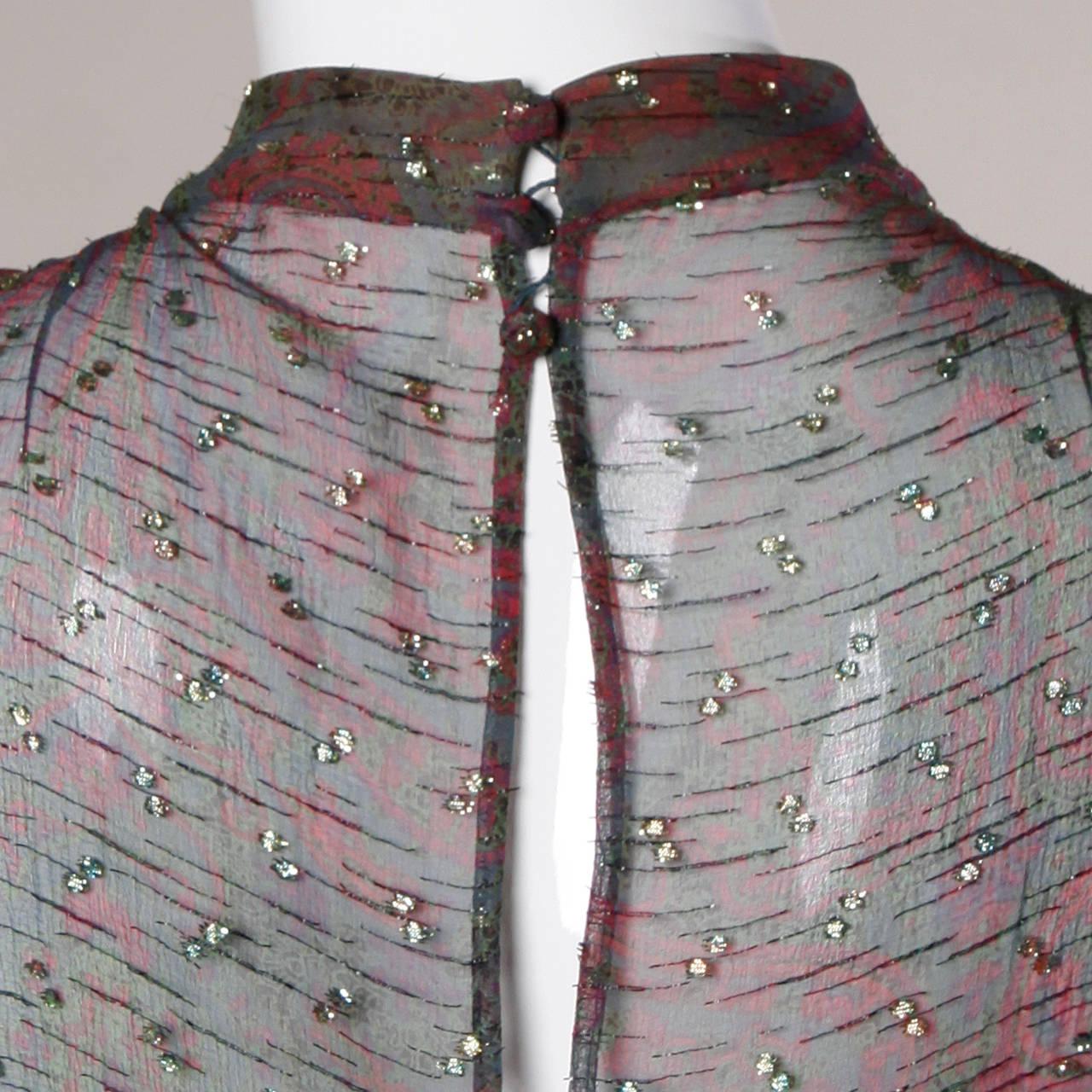 Women's Pauline Trigere Vintage 1970s Metallic Silk 3-Piece Dress + Sash For Sale