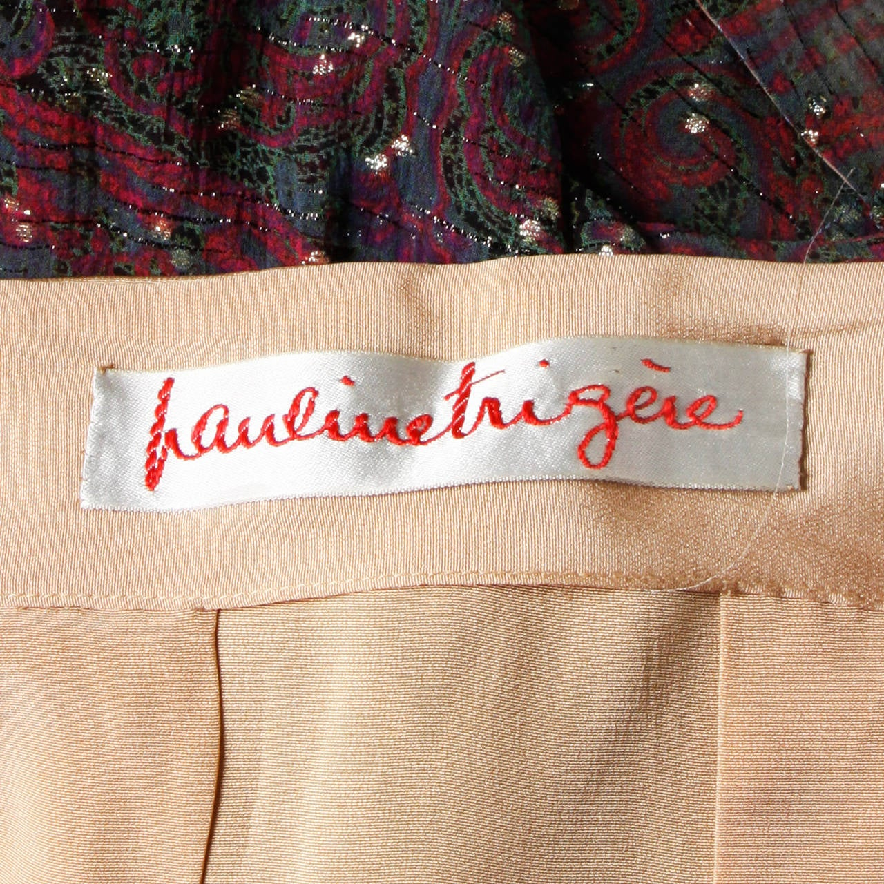 Pauline Trigere Vintage 1970s Metallic Silk 3-Piece Dress + Sash For Sale 4