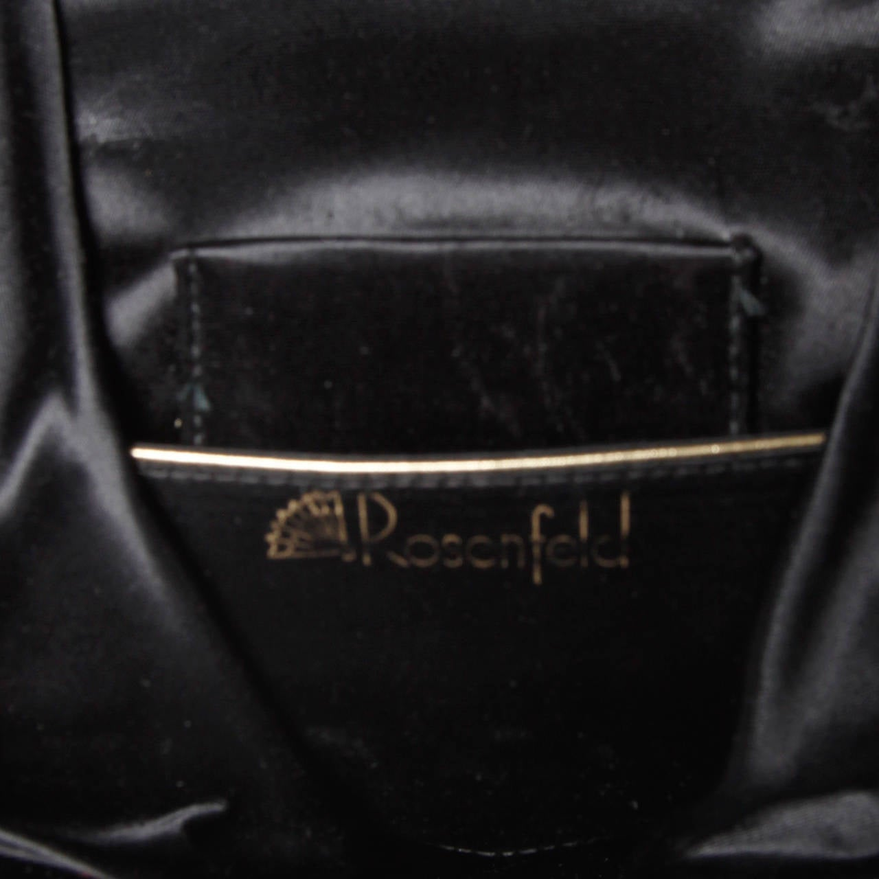 Rosenfeld Vintage 1960s Black Silk Velvet Hand Bag with Cherubs For Sale 4